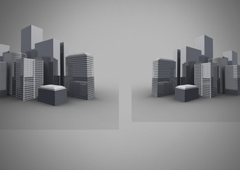 grey background with 3D city buildings
