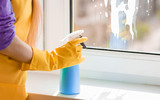 Woman hand cleaning window - 177851240