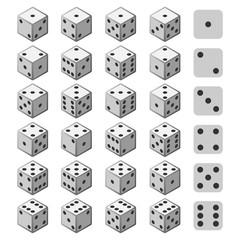 Gambling dice set. Cube gamble 3d ivories or devils bones for casino concept designs