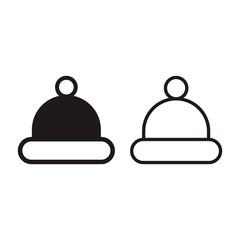 Santa hat icon set, vector flat illustration isolated on white