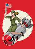 USA pin up  girl ride a nuclear bomb - 177865088