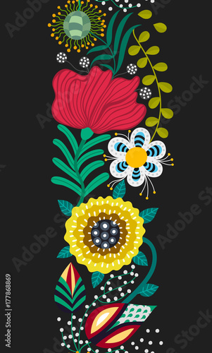 Plakat Floral seamless pattern. Hand drawn creative flowers in folk style. Colorful artistic background. Abstract herbs. Can be used for wallpaper, textiles, embroidery, card, cover. Vector, eps10