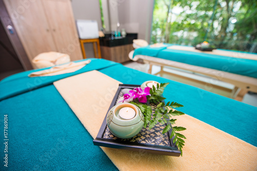 Fotobehang Spa Wellness and spa concept with candles and orchid