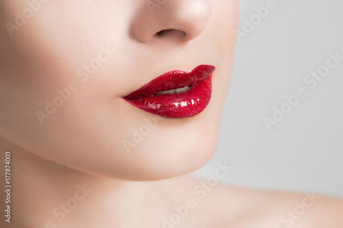 Beautiful female lips closeup Plakat