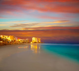 Cancun Forum beach sunset in Mexico - 177877280