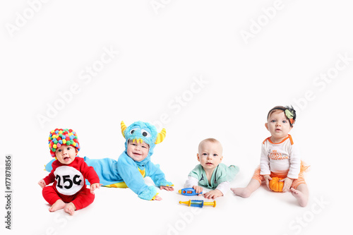 Babies dressed up in Halloween Costumes Poster