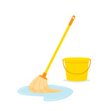 Mop and bucket vector isolated illustration - 177887465