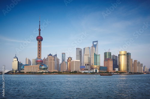 Shanghai skyline with modern urban skyscrapers, China Poster