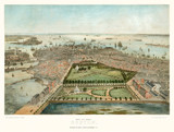 Old aerial view of Boston, Massachusetts.  Created by John Bachmann, publ. Steven & Williams, New York, 1850 - 177892854