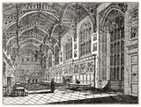 Old grayscale illustration of a church. Indoor view and two priests on center. Christ church hall, Oxford, United Kingdom. Created by Delamotte, published on Penny Magazine, London, 1835 - 177893630
