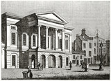 Old grayscale illustration of an ancient institutional building in the main square of a town. Derby Town-Hall, England. By unidentified author, published on the Penny Magazine, London, 1835