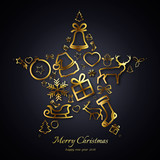Christmas Card 2018 - Star with gold decorations on black background