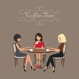 Coffee time. Three girls in the cafe. There are women, sitting at the table and drinking coffee on a brown background in the picture. Vector flat illustration. - 177897229