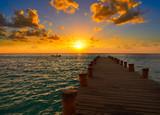 Riviera Maya pier sunrise in Caribbean Mayan - 177900456