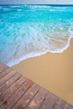 Caribbean beach wood pier tropical aqua - 177901461