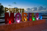 Puerto Morelos word sign in sunset Mexico - 177901691