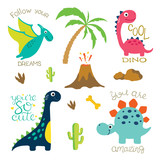 Cute Dino Illustration Wall Sticker