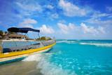 Tulum Caribbean beach boat in Riviera Maya - 177906091
