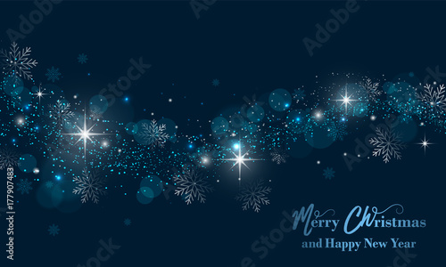 Sticker Merry Christmas and Happy New Year banner with stars, glitter and snowflakes. Vector background.