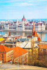 Hungarian Parliament and city panorama, Budapest, Hungary