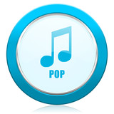 Pop music blue chrome silver metallic border web icon. Round button for internet and mobile phone application designers.