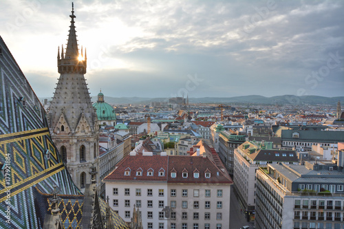 View on Vienna old town from Stephansdom Poster