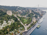 Aerial view of Rumeli Castle in Istanbul Turkey - 177924210
