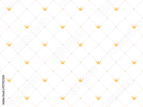 Seamless pattern in retro style with a  gold crown and pink polka dots on white background. Cute wallpaper for little princesses.