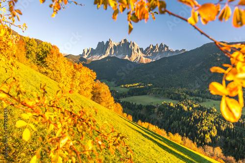 Fotobehang Meloen Autumn in the Alps, Funes Valley, Dolomites