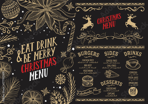 Poster Christmas menu food template for restaurant.