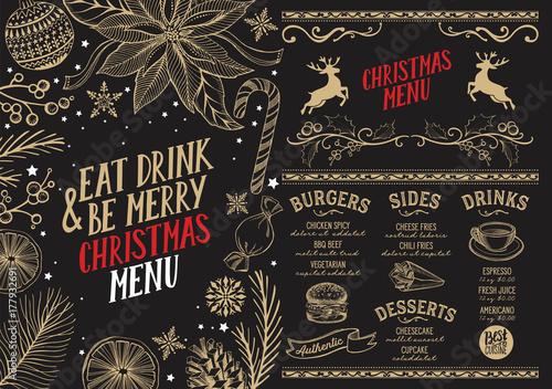 Genial Sticker Christmas Menu Food Template For Restaurant.