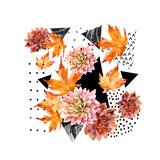 Autumn watercolor floral arrangement - 177935253