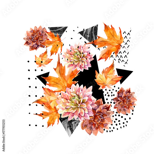 Autumn watercolor floral arrangement - 177935253