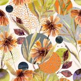 Abstract floral and geometric seamless pattern. - 177935856