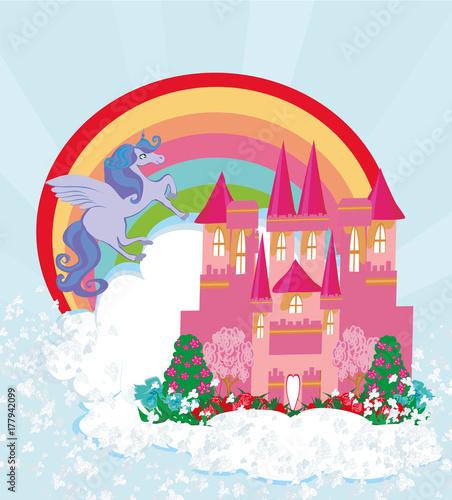 Foto op Aluminium Kasteel beautiful unicorn and fairy-tale princess castle