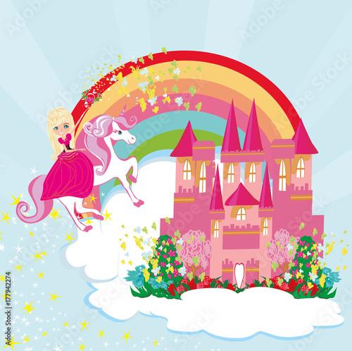 Foto op Aluminium Kasteel lovely fairy on a unicorn flying on a rainbow