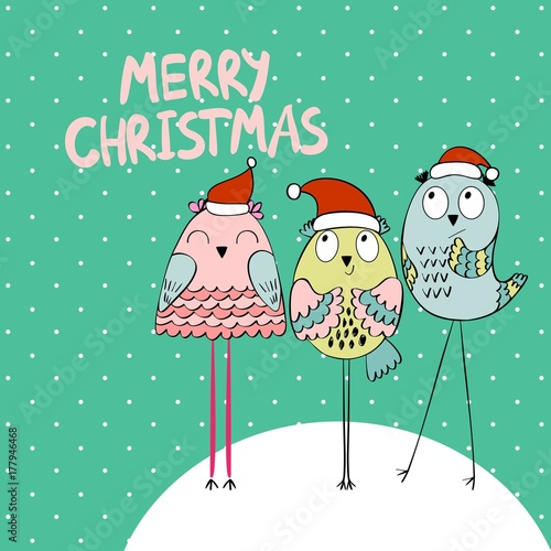 Aluminium Uilen cartoon Merry Christmas and Happy New year. Christmas owls.