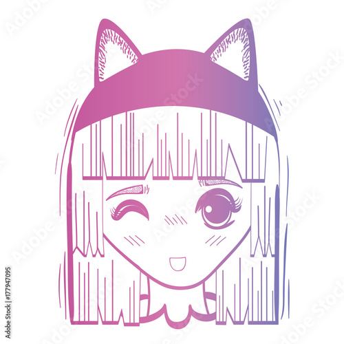line anime girl head with custome and hairstyle - 177947095