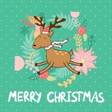 Merry Christmas and Happy New year. Christmas reindeer.