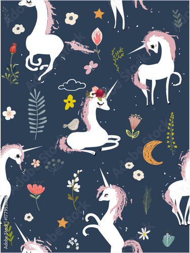 Cotton fabric Seamless pattern with cartoon unicorns and flowers