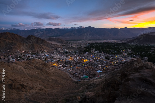 Foto op Canvas Zee zonsondergang Landscape of Leh city and mountain around from Leh Monastery Leh district, Ladakh, in the north Indian state of Jammu and Kashmir.