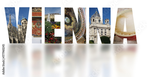 Foto op Canvas Wenen Vienna Austria banner text on white
