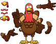 Cartoon turkey. Vector clip art illustration with simple gradients. Some elements on separate layer.  - 177969427