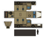 Paper Model Of A Vintage Sand Military Truck Wall Sticker