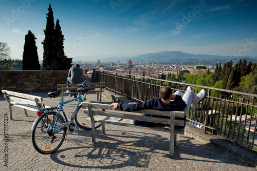 Florence, Tuscany - April 09, 2011 - Panoramic view of Florence from San Miniato Poster