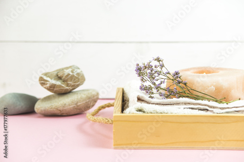Fotobehang Spa wooden tray with accessories for spa procedures with a floppy, candles and soap