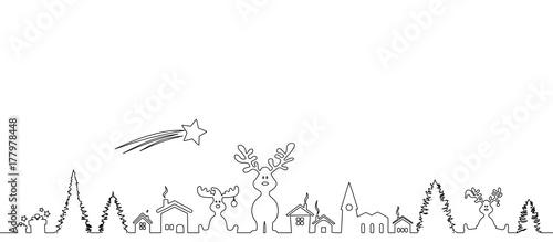 Weihnachten Landschaft Elche - 177978448