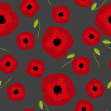 Seamless floral pattern big and small red Poppies flowers with bud on gray background, vector, eps 10