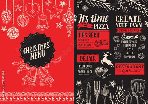 Wall mural Christmas menu food template for restaurant.