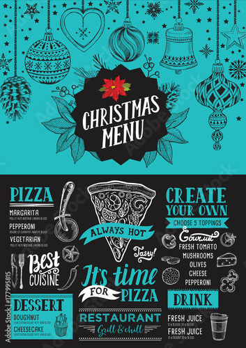 Fridge magnet Christmas menu food template for restaurant.